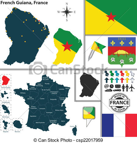 Clipart Vector of Map of French Guiana, France.
