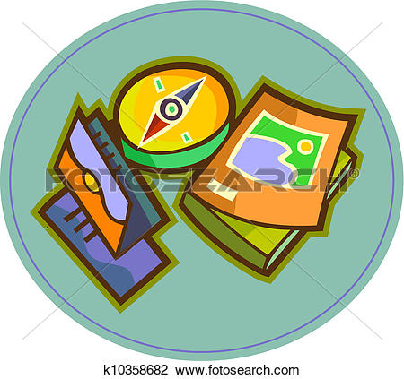 Clip Art of A compass, travel brochures, and travel guide books.