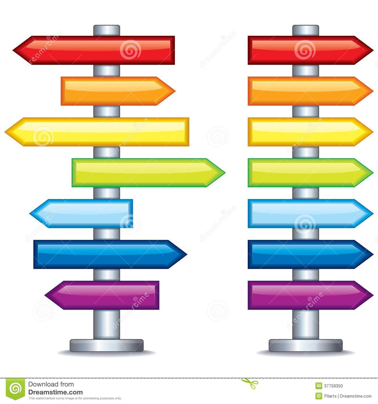 Colorful Editable Guidepost. Vector Stock Photo.