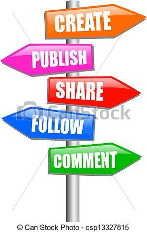 Vector Clip Art of Blogging guidepost, vector clip art csp13327815.