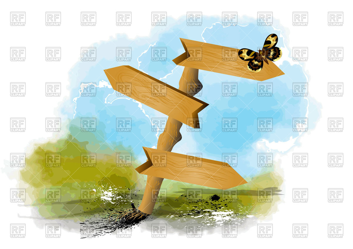 Butterfly on empty guidepost Vector Image #71053.