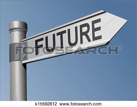 Clip Art of Guidepost with the word Future k15592812.
