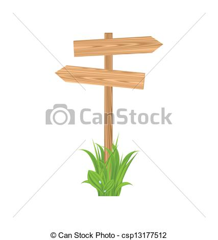 Vector Clip Art of Wooden signboard for guidepost, grass.