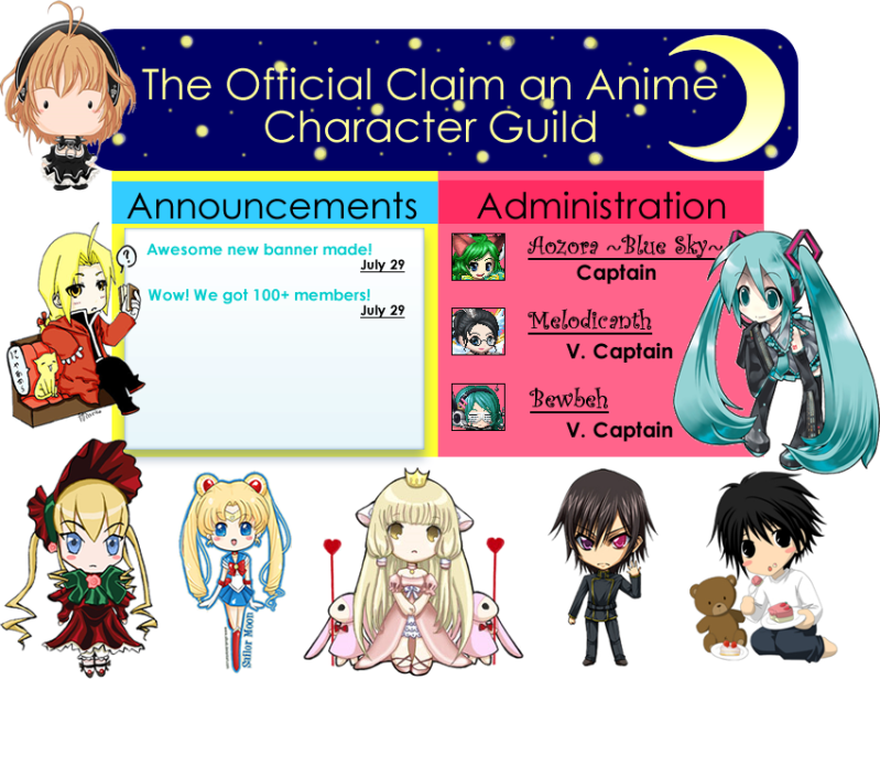 The Official Claim An Anime Character Guild (150 users).