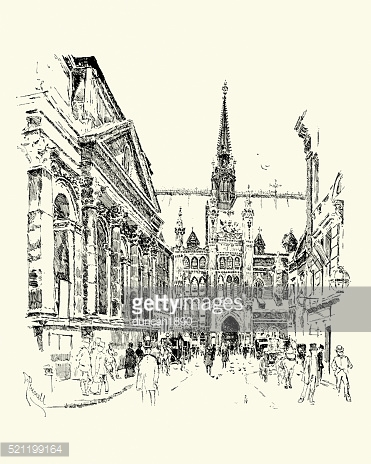 The Guildhall, London, 1900 stock vectors.