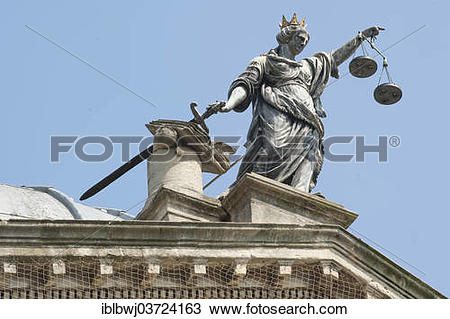 "Stock Photo of ""Justice holding her sword and scales, sculpture on."