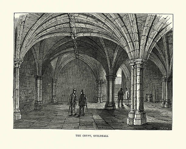 Victorian London The Crypt Of Guildhall Clip Art, Vector Images.