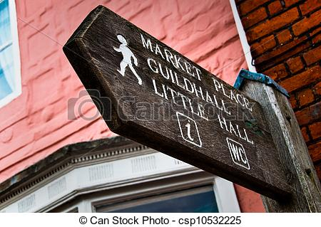 Clip Art of Signpost to Market place, Guildhall.