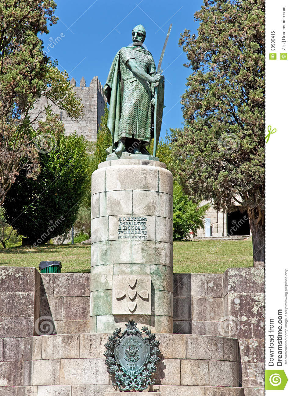 Statue Of King Dom Afonso Henriques In Guimaraes Stock Photo.