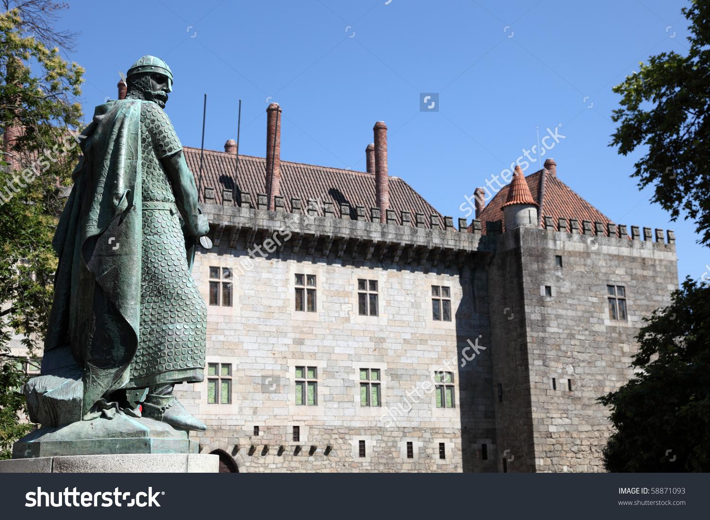 Guimaraes Castle Statue King Afonso Henriques Stock Photo 58871093.
