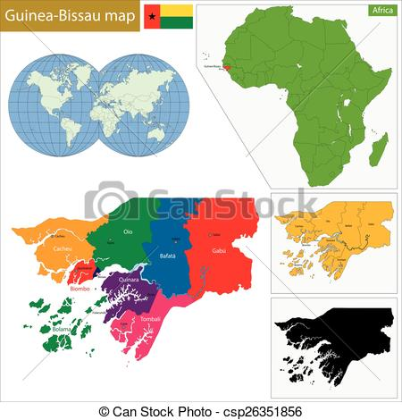 Guinea bissau map clipart.