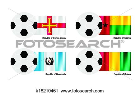 Clipart of Soccer Ball with Guinea Bissau, Albania, Guatemala and.