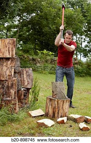 Stock Image of Cutting wood with splitting axe, hand tool, farming.