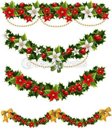guirnaldas de Navidad de acebo y muérdago y arco verde.
