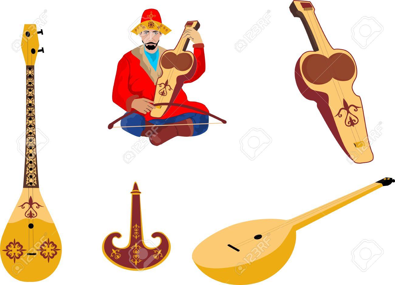 Kazakh Traditional Folk Musiacal Instruments Icons Set Royalty.