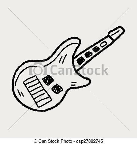 EPS Vector of toy guitar doodle csp27882745.