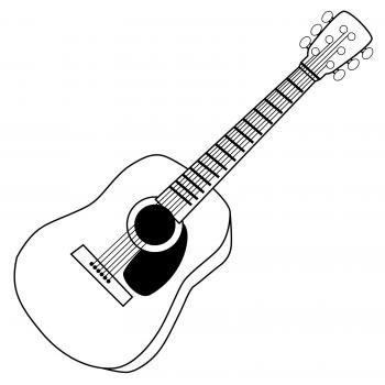 Fancy Guitar Clipart Black And White guitar clip art black and white.