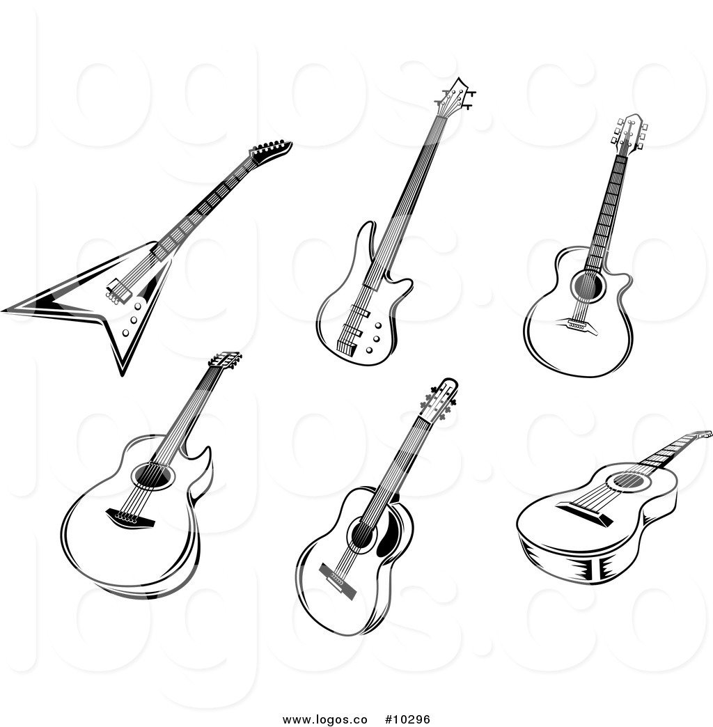 Royalty Free Clip Art Vector Logos of Black and White Acoustic and.