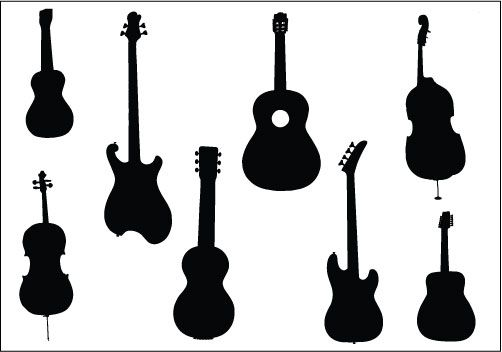 Music Instruments Silhouette Clip Art Pack.