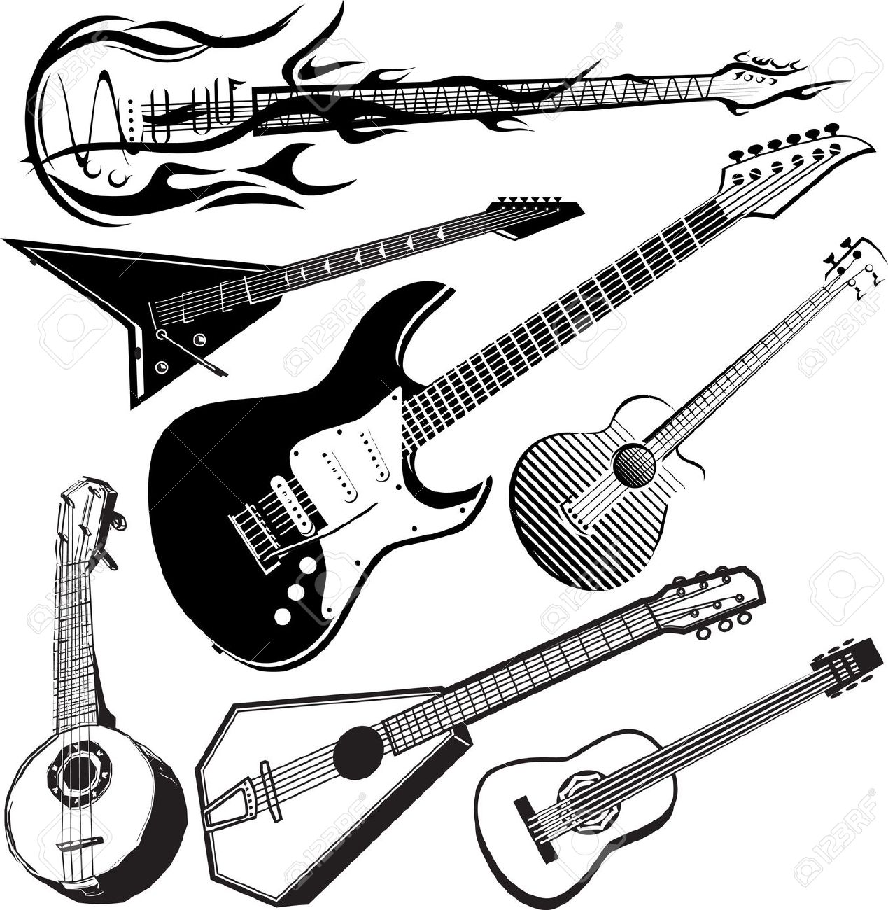 Guitar Collection Royalty Free Cliparts, Vectors, And Stock.