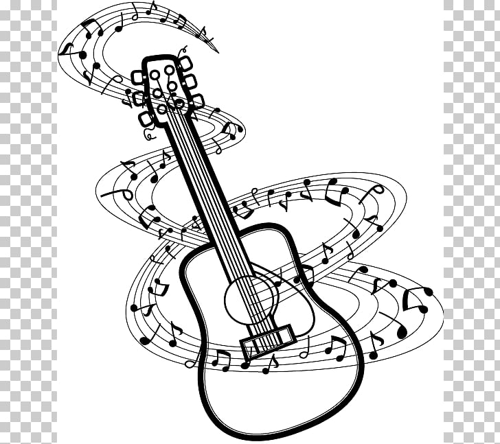 Musical note Guitar Drawing , Notes s BW, guitar and musical.