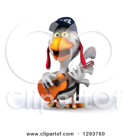 Clipart 3d Police Chicken Guitarist 1.