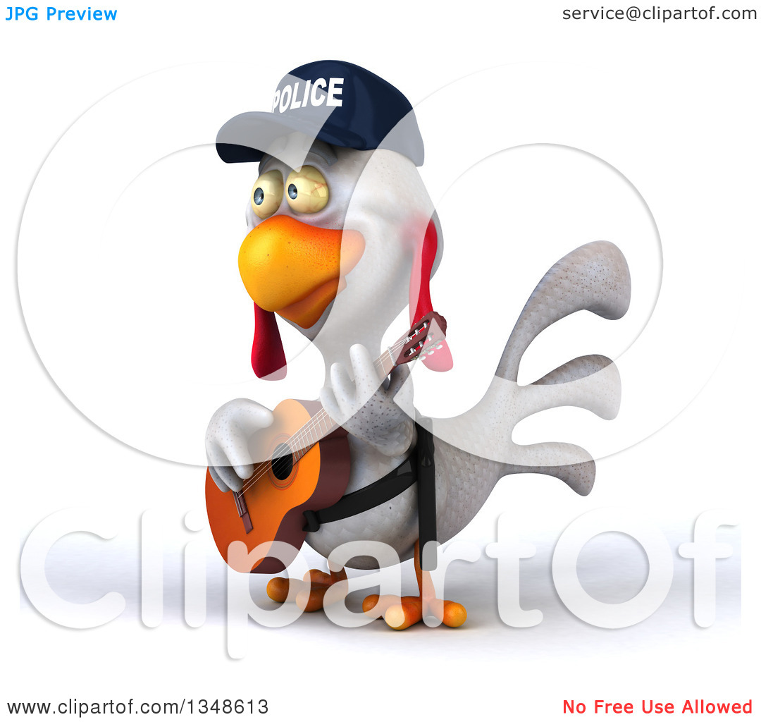 Clipart of a 3d White Police Chicken Playing a Guitar.
