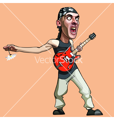 Cartoon man with his mouth open and his guitar vector by.