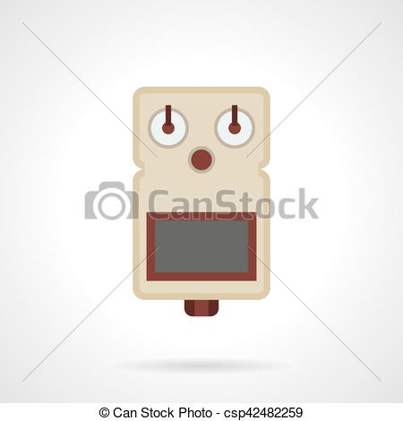 Clipart Vector of Guitar drive pedal flat color vector icon.