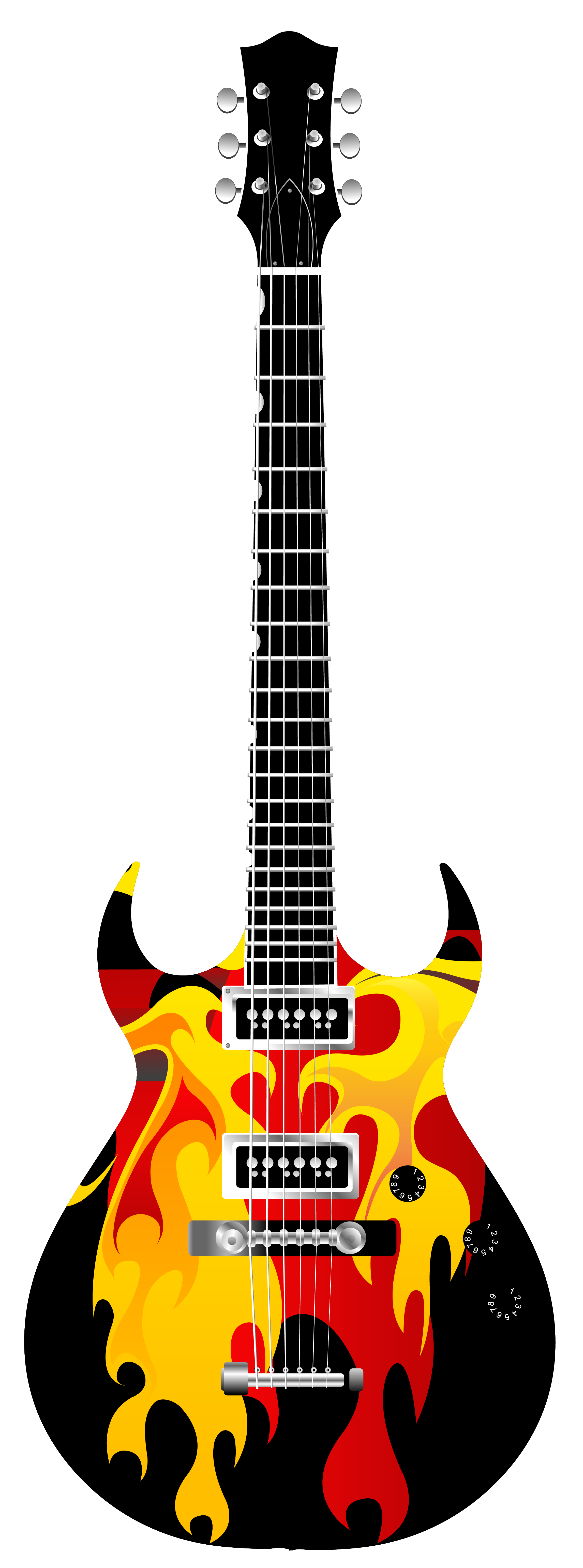 Flame Electric Guitar PNG Clipart.