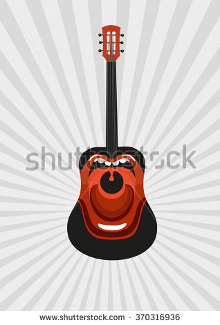 Singing Guitar. Guitar With Painted Open Mouth. Poster Templates.