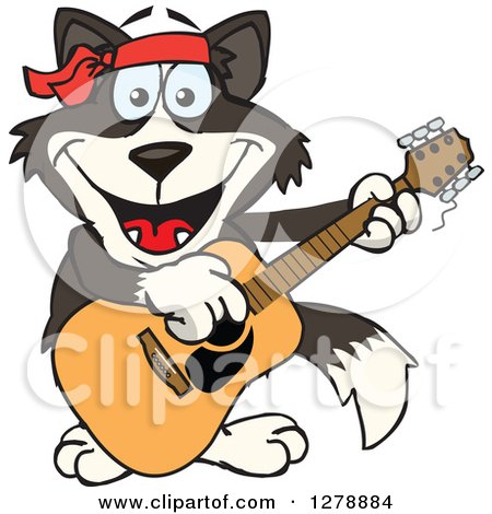 Clipart of a Hungry Border Collie Dog Shoving Weenies in His Mouth.