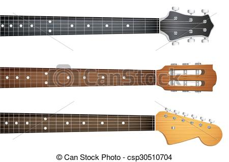 Vector Clipart of Set of Guitar neck fretboard and headstock.