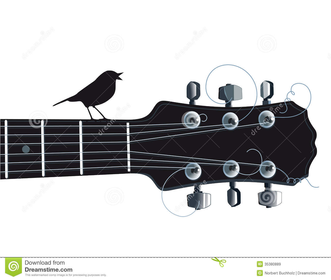 Guitar With Singing Bird Royalty Free Stock Images.