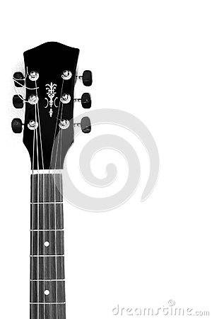 Acoustic Guitar Neck In Black And White Stock Photo.