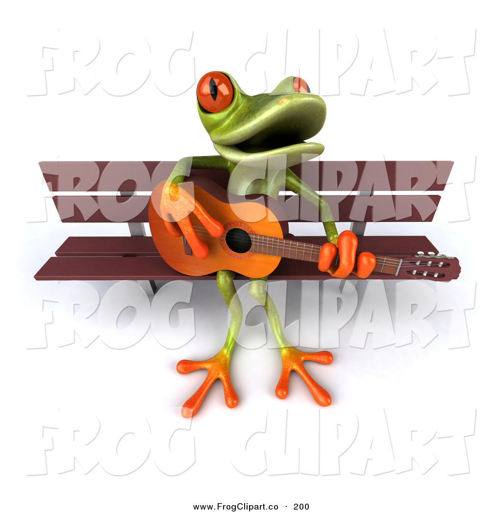 Clip Art of a Cute Green Tree Frog Playing a Guitar White Sitting.