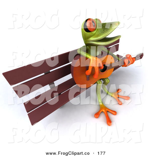 Clip Art of a Cute Green Tree Frog Playing a Guitar on a Park.