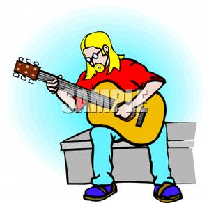 A_Man_Playing_A_Guitar_On_A_Bench_Royalty_Free_Clipart_Picture_100514.