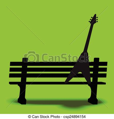 Clipart Vector of Guitar park bench music backgr.