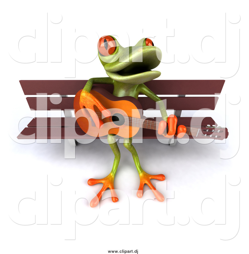Vector Clipart of a 3d Frog Playing a Guitar on a Park Bench by.