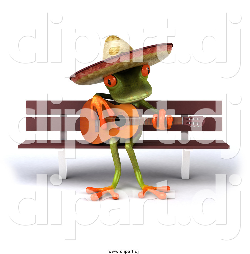 Vector Clipart of a 3d Mexican Guitarist Frog Playing on a Bench.