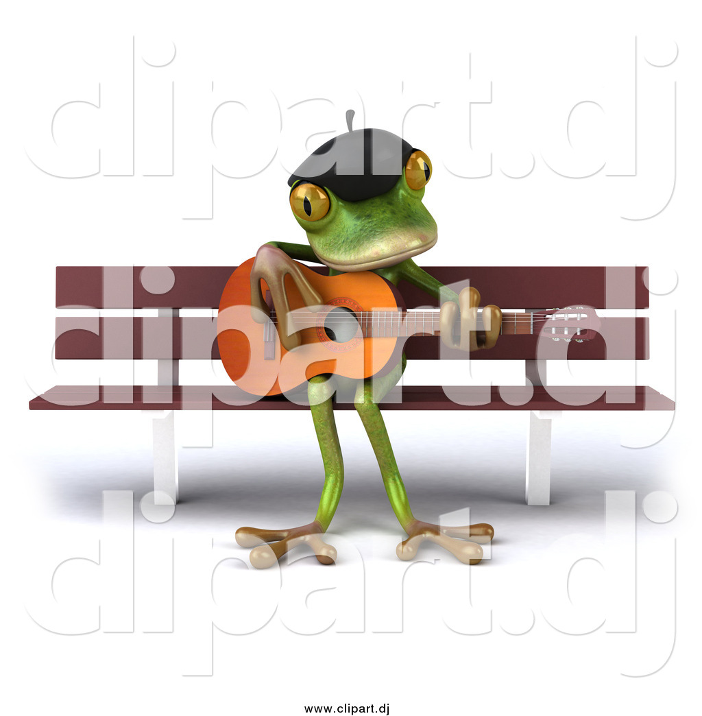 Clipart of a 3d French Frog Playing a Guitar on a Bench by Julos.