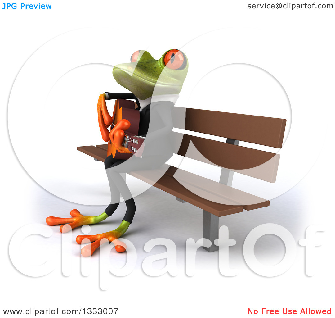 Clipart of a 3d Green Business Frog Singing and Playing a Guitar.