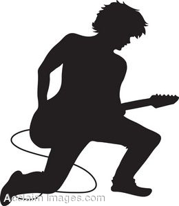 Clip Art of a Guitar Player Silhouette.