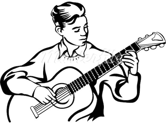 Guitar player clipart #11
