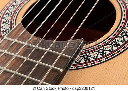 Stock Photography of Acoustic guitar strings.
