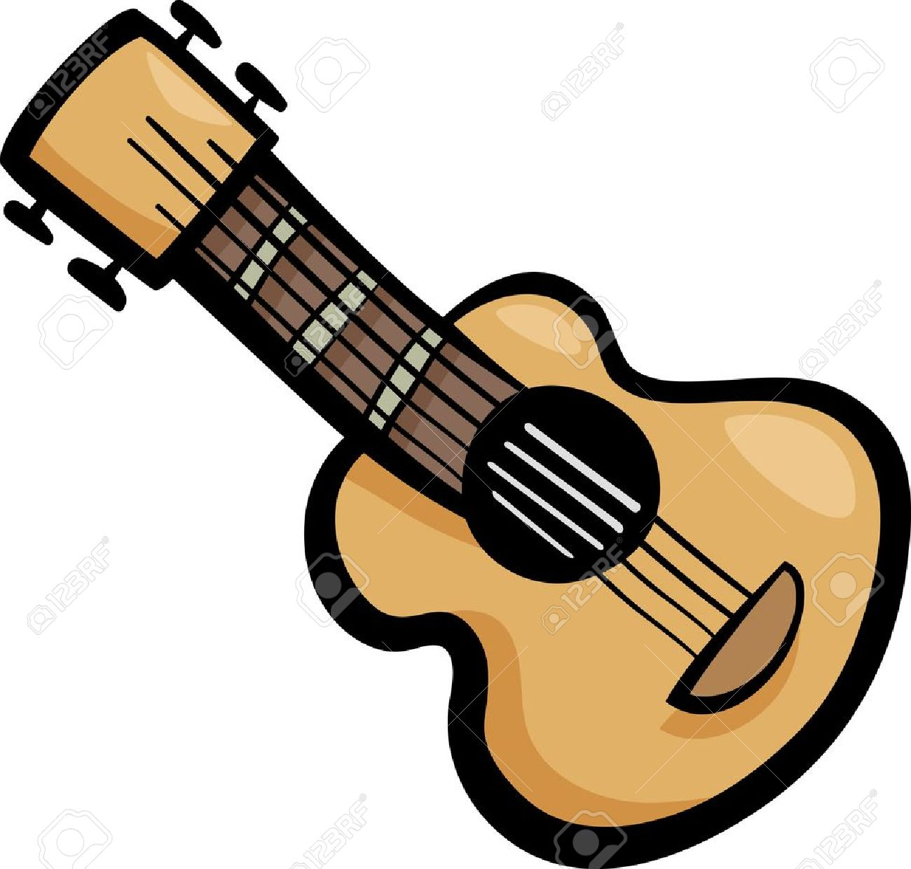 Cartoon Illustration Of Acoustic Guitar Ear Clip Art Royalty Free.