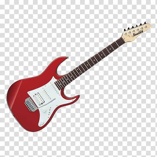 First s, red Ibanez electric guitar transparent background.