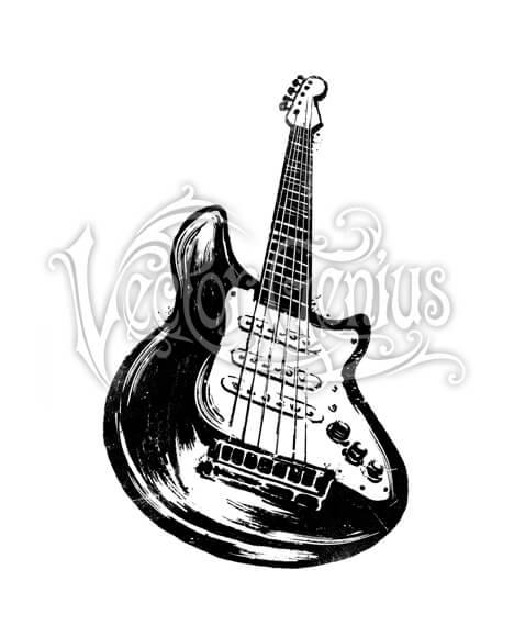 Hand Drawn Distressed Electric Guitar ClipArt.