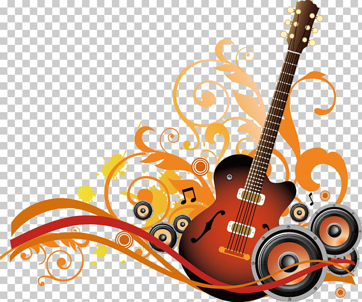Guitar Musical note Illustration, Music Themes, brown guitar.